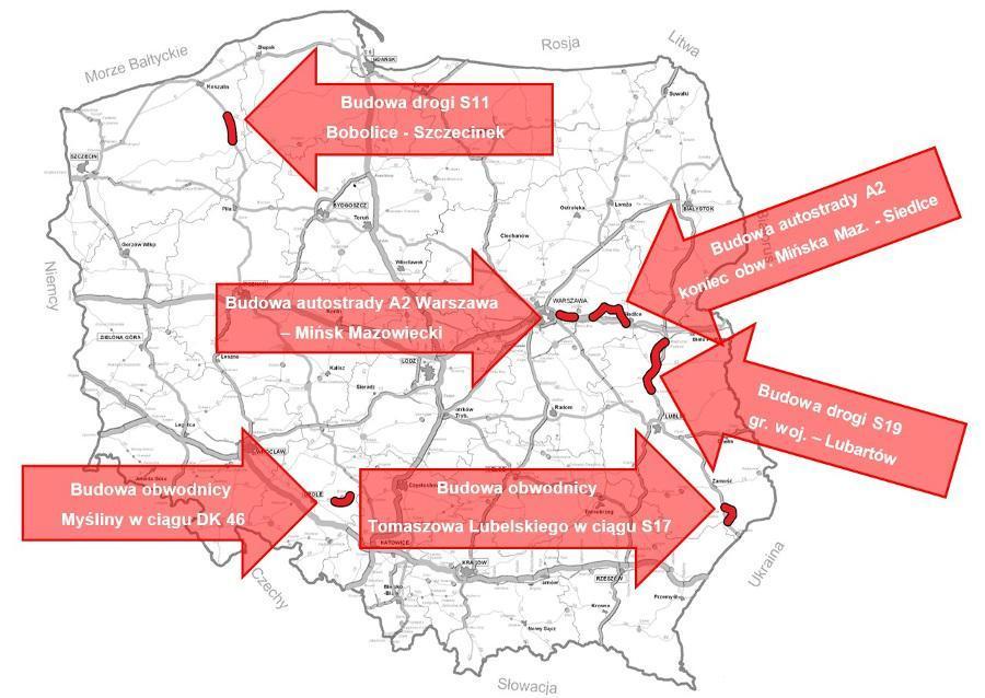 Mapa z lokalizacja inwestycji na które trafi ponad 3 mld zł.