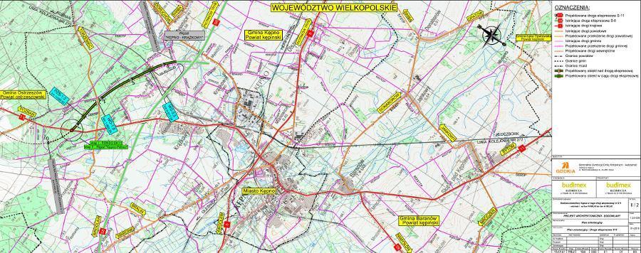Mapa I odcinka obwodnicy Kępna w ciągu drogi ekspresowej S11