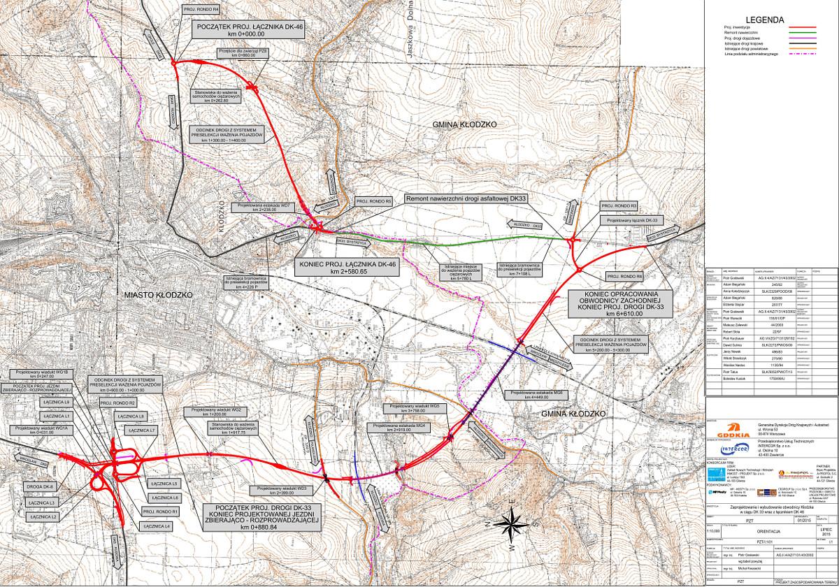 Mapa obwodnicy Kłodzka w ciągu DK33 i łącznika z DK46