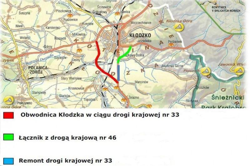 Mapa przebiegu obwodnicy Kłodzka wraz z lokalizacją nowych odcinków