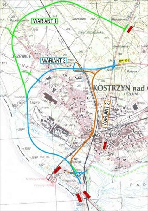 Mapa przebiegu obwodnicy Kostrzyna nad Odrą w ciągu DK31 - trzy warianty