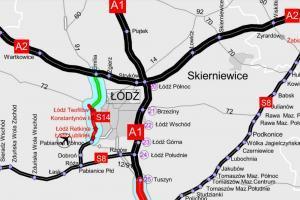 Mapa obwodnicy Łodzi w ciągu dróg A2, A1, S8 i S14