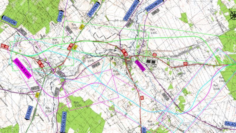 Mapa przebiegu obwodnicy Praszki w ciągu DK45