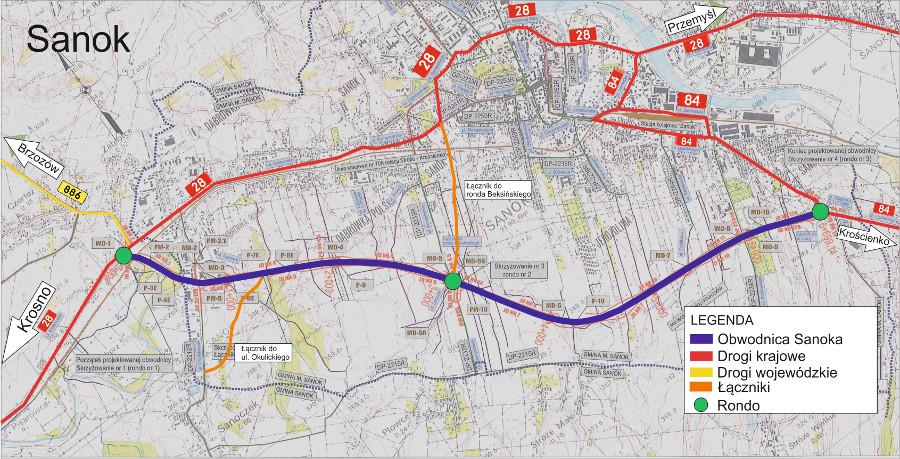 Obwodnica Sanoka - mapa przebiegu trasy w ciągu DK28