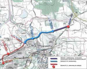 Obwodnica Skawiny - mapa wszystkich odcinków DK44