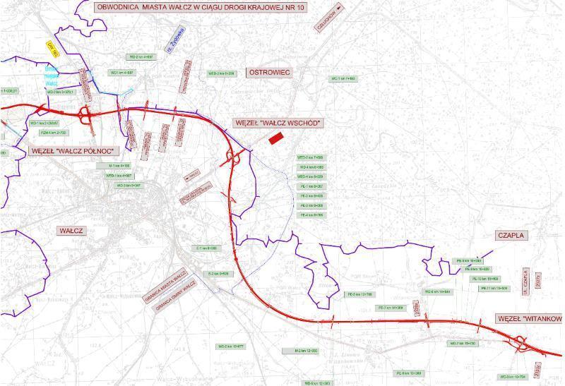 Mapa obwodnicy Wałcza w ciągu drogi ekspresowej S10