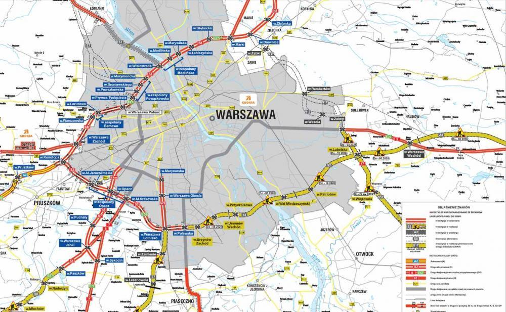 Mapa przebiegu ekspresowej obwodnicy Warszawy