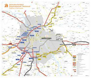 Mapa obwodnicy Warszawy - ring dróg ekspresowych S8, S2, S17 i S7