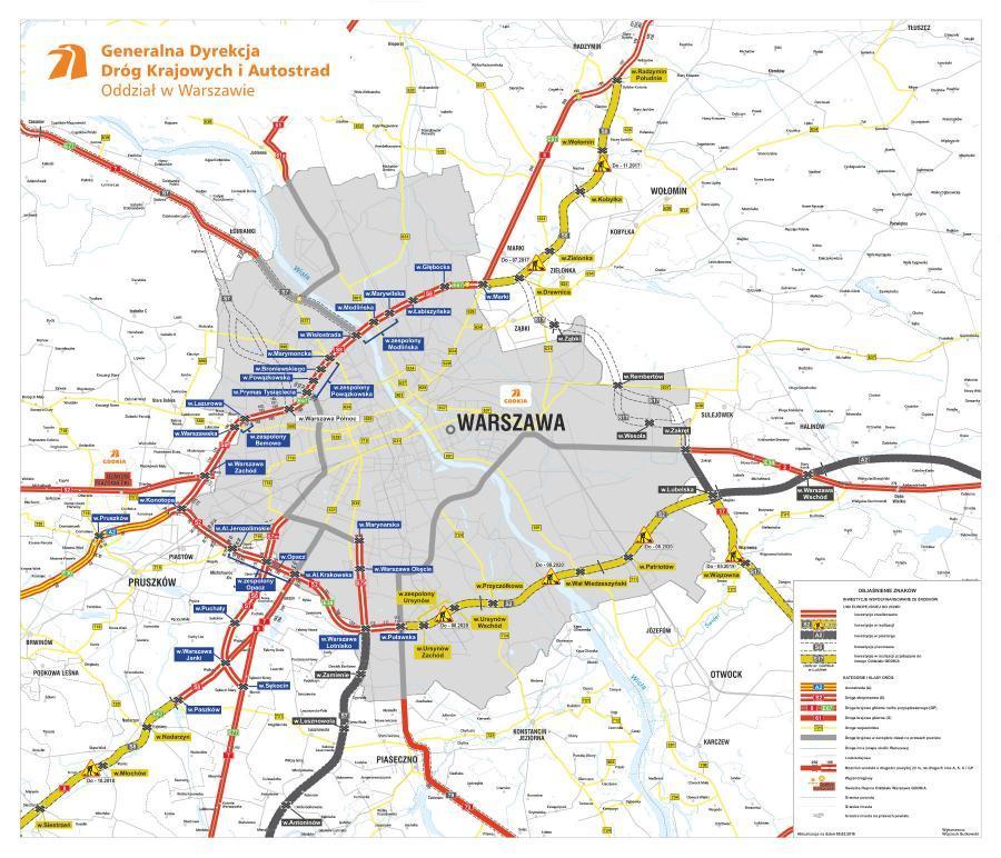 Mapa obwodnicy Warszawy  w ciągu dróg ekspresowych S2, S8, S7 i S17
