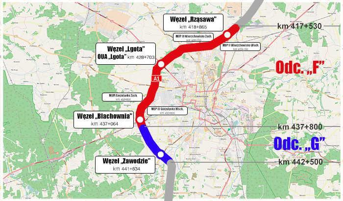 Mapa autostrady A1 - obwodnica Czestochowy