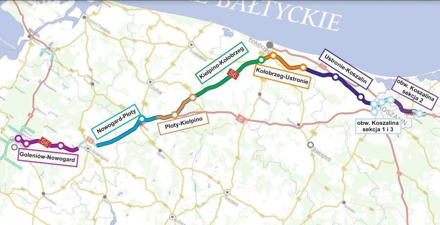 Budowa drogi ekspresowej S6 Szczecin - Koszalin w podziale na odcinki