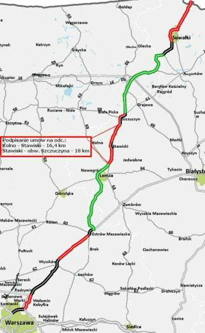 Mapa z lokalizacja odcinków drogi ekspresowej S61 Kolno - Stawiski i Stawiski - Szczuczyn