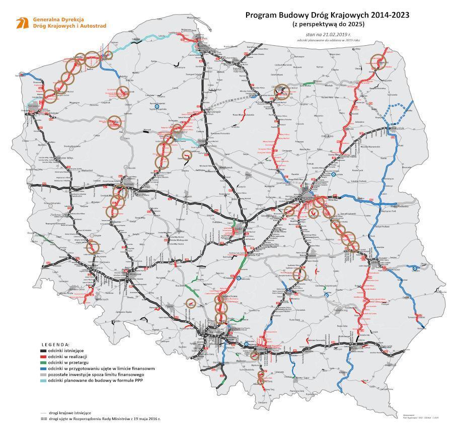 Mapa planowanych do oddania odcinków autostrad i dróg ekspresowych, obwodnic w 2019