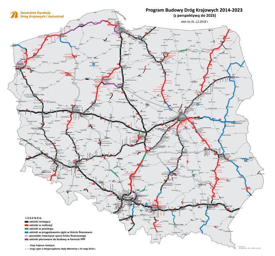 Mapa drogowa Polski - nowe odcinki dróg ekspresowych i autostrad, budowa, plany