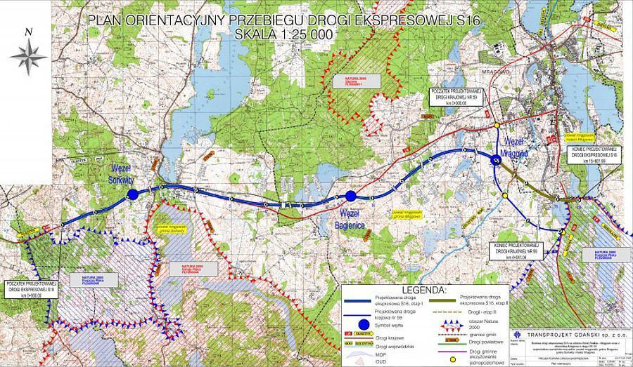 Mapa przebiegu drogi ekspresowej S16 Borki Wielkie - Mrągowo
