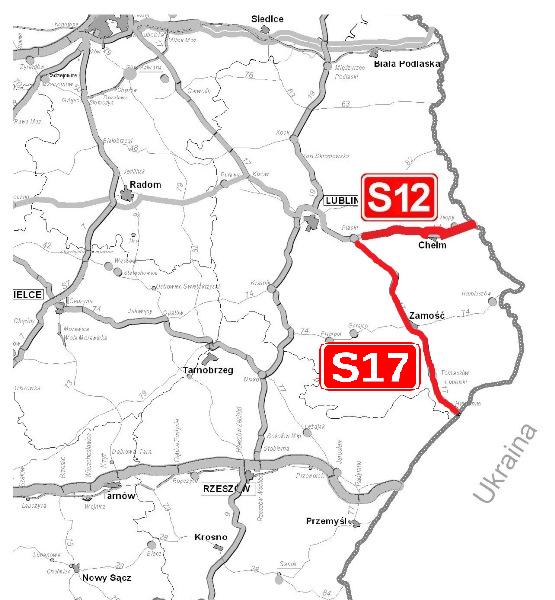 Mapa zatwierdzonych do realizacji odcinków dróg S17 i S12 - obwodnica Chełma