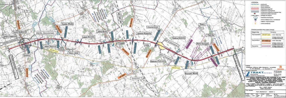 Mapa przebiegu drogi ekspresowej S61 na odc. Śniadowo - Podborze