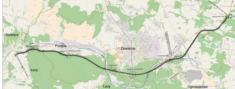 Mapa przebiegu nowego odcinka drogi krajowej nr 78 - obwodnica Zawiercia i Poręby