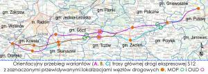 Mapa wariantów drogi ekspresowej S12 Radom – Puławy