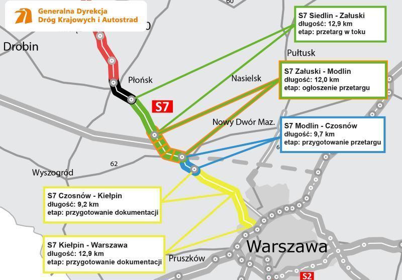 Mapa realizacji drogi ekspresowej S7 Warszawa - Gdańsk. Odcinki w budowie i przygotowaniu