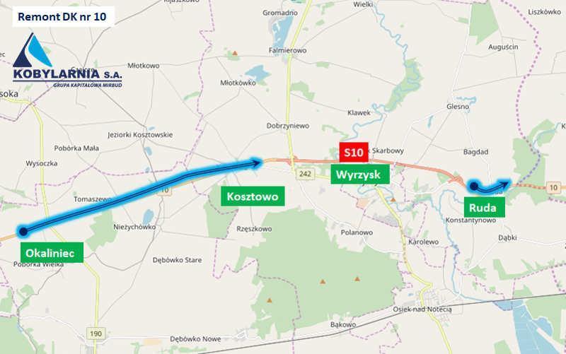 Remont odcinka drogi krajowej nr 10 w wpowiecie Pilskim - mapa