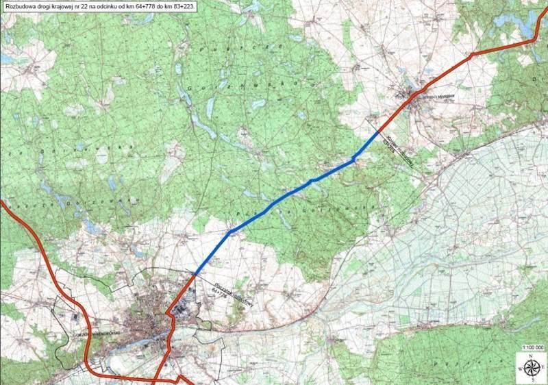 Rozbudowa DK22 na trasie Gorzów Wielkopolski - Strzelce Krajeńskie - mapa