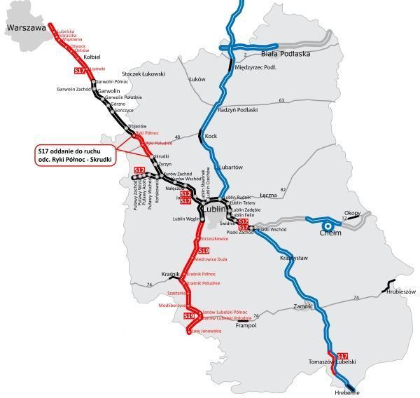 Mapa drogi ekspresowej S17 Warszawa - Lublin - Hrebenne. Oddanie odc. Ryki - Skrudki