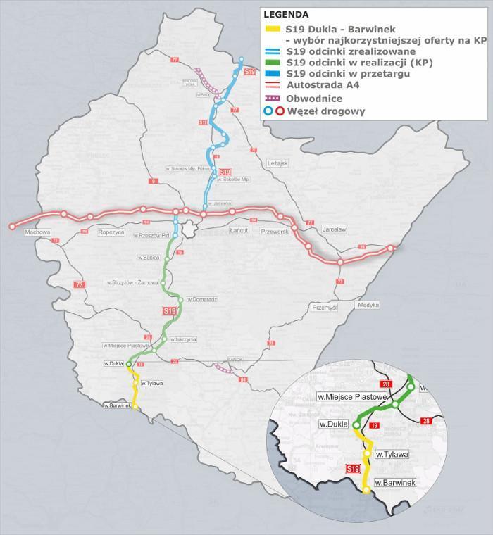 Mapa drogi ekspresowej S19 Babica - Barwinek z odcinkiem Dukla - Barwinek