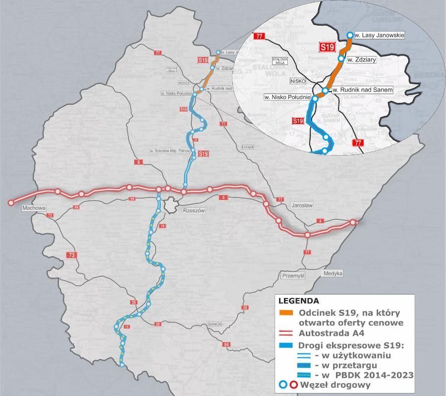 Mapa odcinków drogi S19 przewidzianych do realizacji