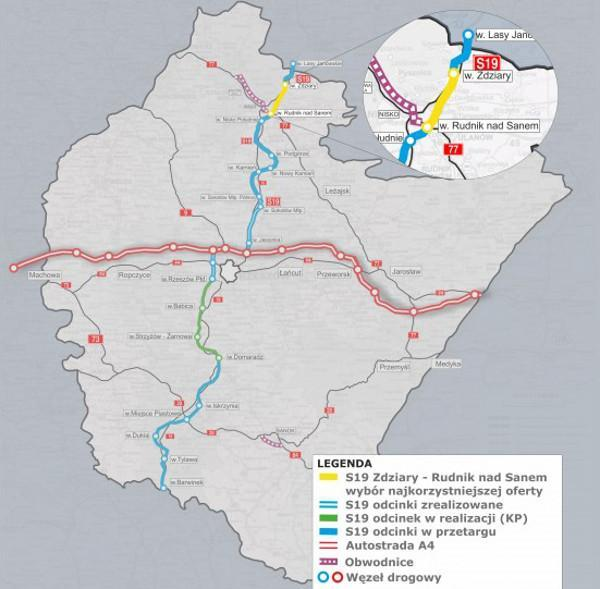Mapa drogi ekspresowej S19 na Podkarpaciu - odcinek Lasy Janowskie - Zdziary