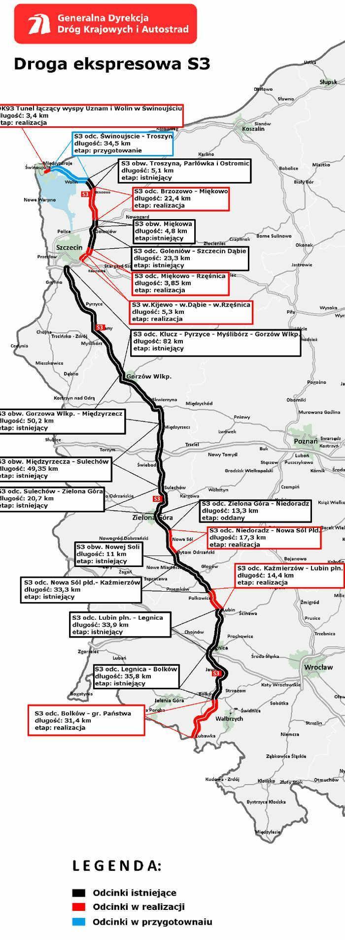 Mapa realizacji drogi ekspresowej S3