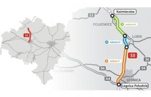 Mapa S3 Nowa Sól - Legnica. W budowie droga Kaźmierzów - Lubin