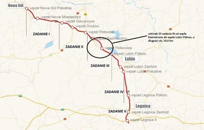 Mapa z brakującem odcinkiem drogi ekspresowej S3 Polkowice - Lubin