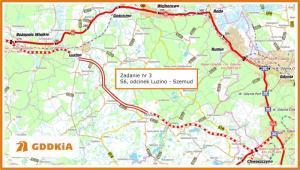 Droga ekspresowa S6 Lębork - Gdynia, Trasa Kaszubska - mapa odcinka Luzino - Szemud