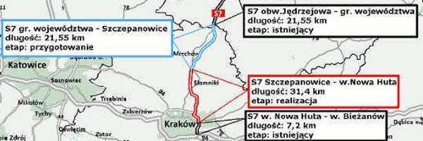 Mapa z odcinkami realizacyjnymi Kraków - granica województwa
