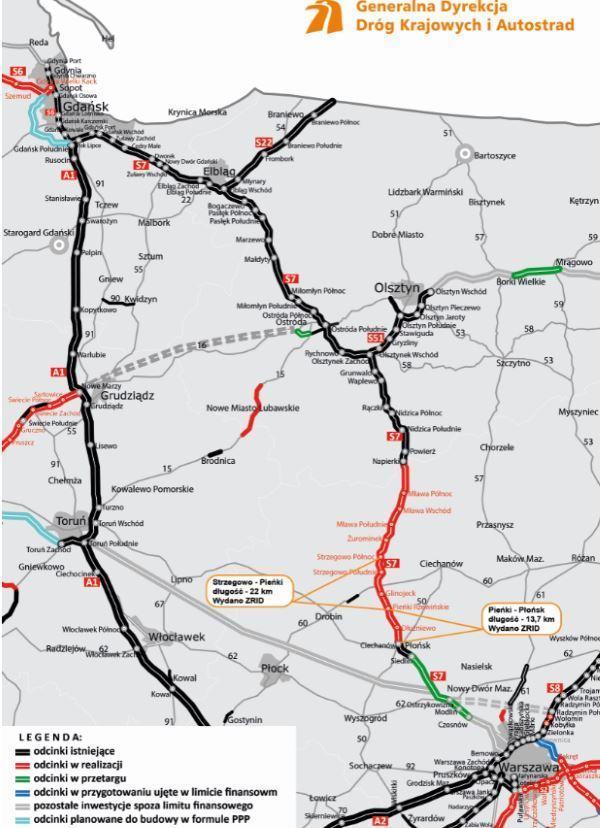 Mapa drogi ekspresowej S7 Warszawa - Gdańsk - odc. w budowie, gotowe, w przygotowaniu