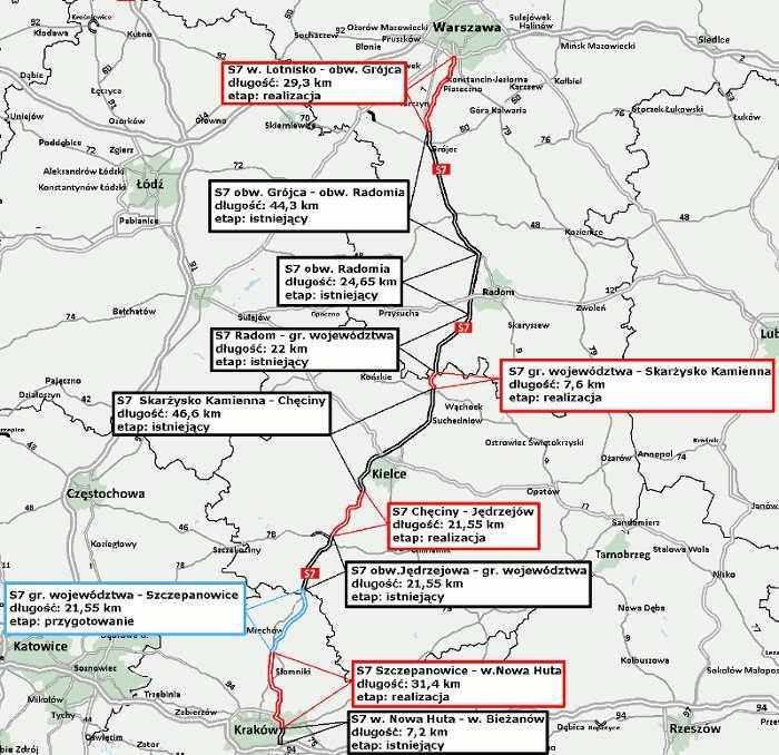 Mapa drogi ekspresowej S7 Warszawa - Kraków