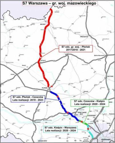 Mapa przebiegu drogi ekspresowej S7 Warszawa - granica województw, północny wylot