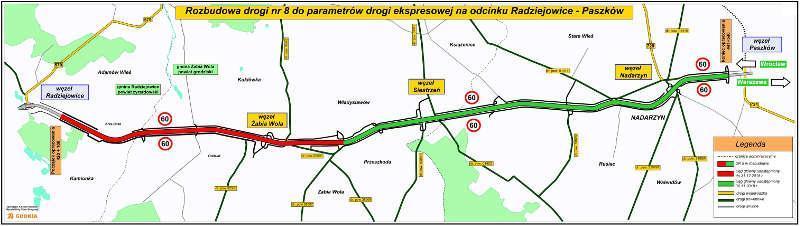 Mapa drogi ekspresowej S8 Radziejowice - Paszków. Odcinki gotowe i w realizacji