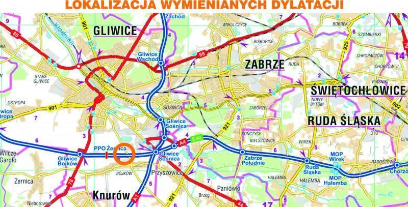 Mapa utrudnień na autostradzie A4 w Gliwicach