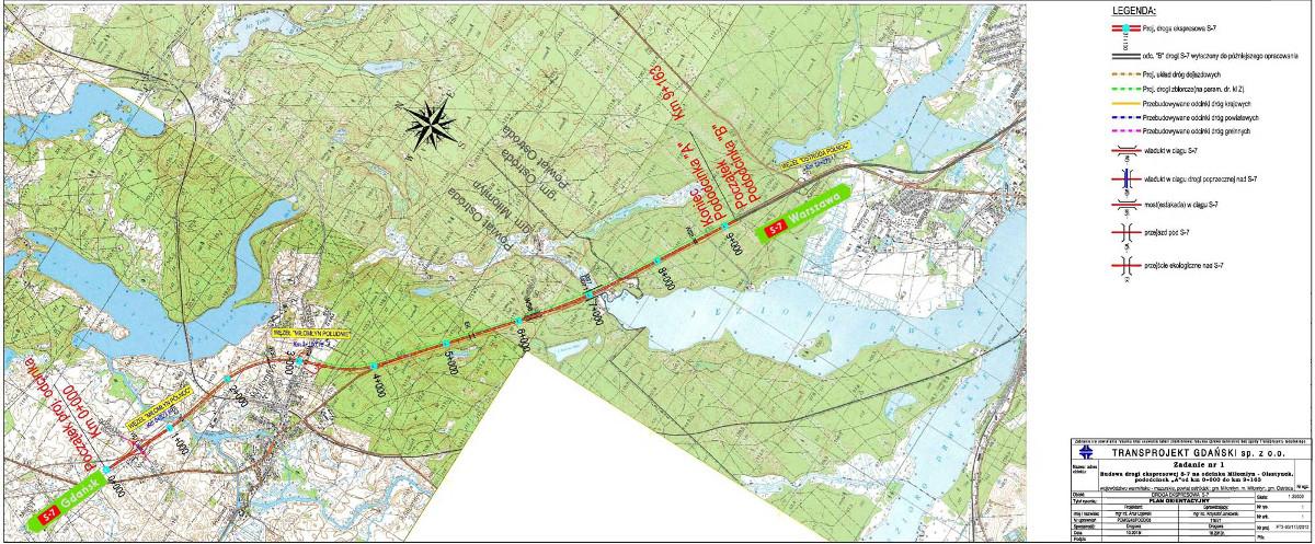 Mapa Drogi Ekspresowej S7 Milomlyn Ostroda W Ciagu S7 Milomlyn