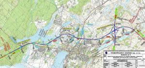 Mapa obwodnicy Ostródy tj. Ostróda Północ - Ostróda Południe w ciągu S7 Miłomłyn - Olsztynek