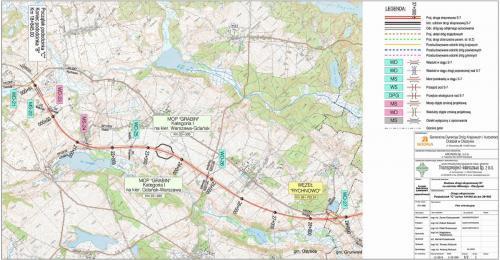 Mapa drogi ekspresowej S7 Ostróda - Rychnowo w ciągu S7 Miłomłyn - Olsztynek