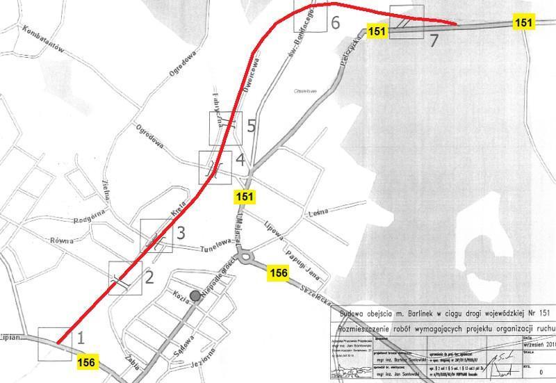 Obwodnica Barlinka - mapa przebiegu nowego odcinka DW151