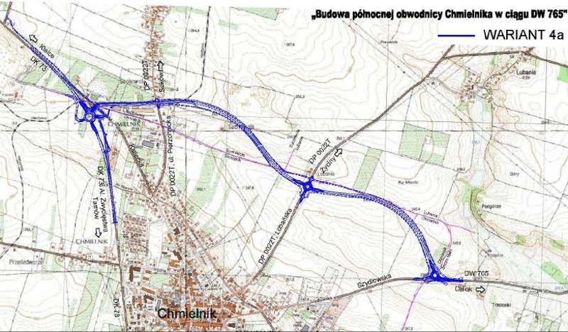 Obwodnica Chmielnika połączy DW765 z DK73 - mapa przebiegu