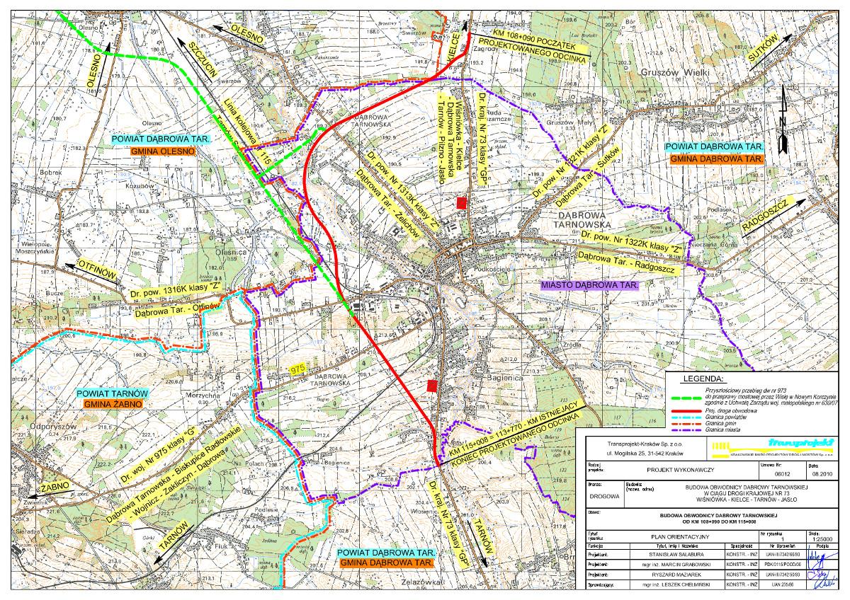 Obwodnica Dąbrowy Tarnowskiej w ciągu DK73 - mapa przebiegu