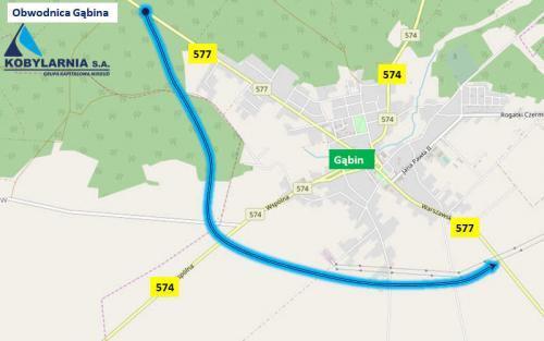 Obwodnica Gąbina na DW577 - mapa przebiegu