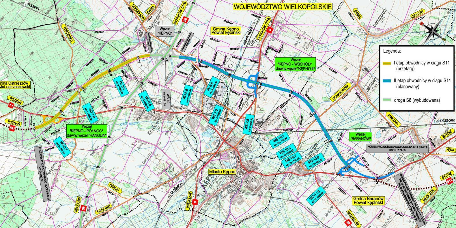 Mapa obwodnicy Kępna w ciągu drogi ekspresowej S11