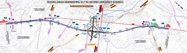 Obwodnica Kołbieli - mapa odcinka drogi ekspresowej S17