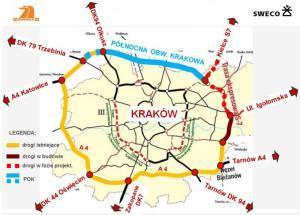 Obwodnica Krakowa - mapa ringu A4, S7 i S52